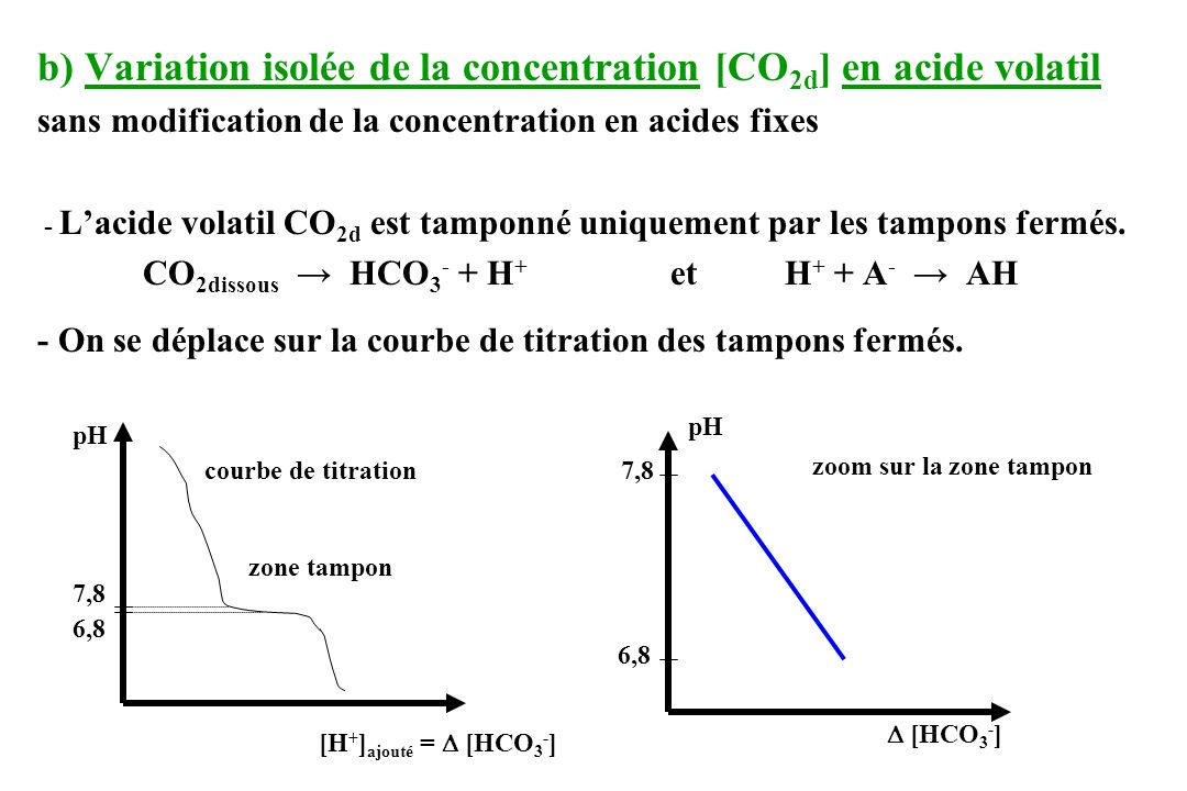 b) Variation isolée de la concentration [CO2d] en acide volatil